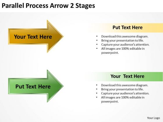 Strategic Management Parallel Process Arrow 2 Stages Marketing Diagram