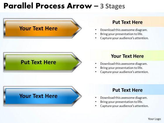 Strategic Management Parallel Process Arrow 3 Stages Sales Diagram