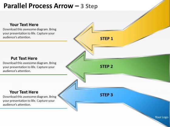 Strategic Management Parallel Process Arrow 3 Step Business Diagram