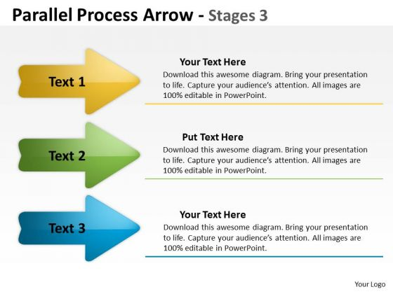 Strategic Management Parallel Process Arrow Stages Business Cycle Diagram