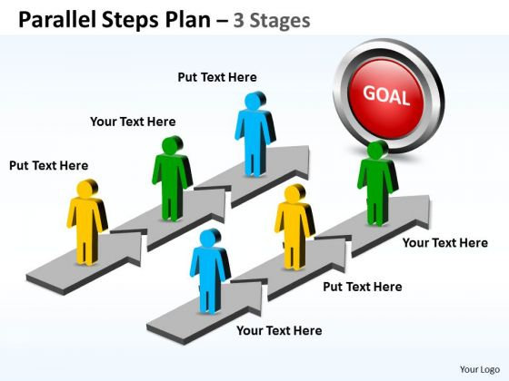 Strategic Management Parallel Steps Plan 3 Stages Style Business Framework Model