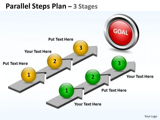 Strategic Management Parallel Steps Plan 3 Stages Style Sales Diagram