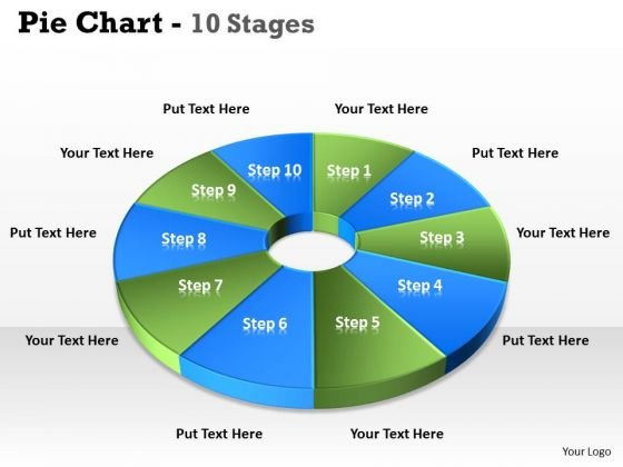 Strategic Management Pie Chart 10 Step Business Diagram