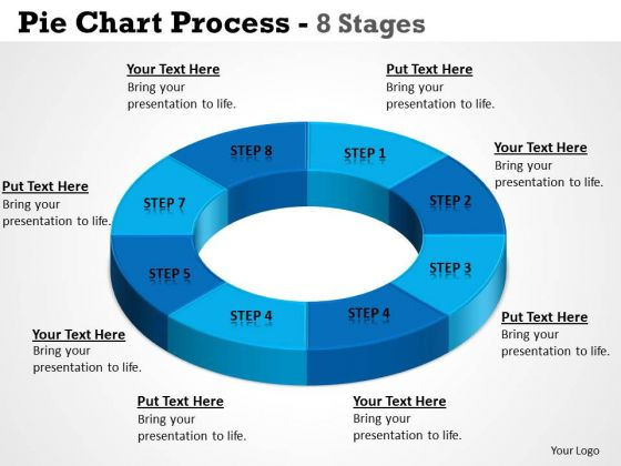 Strategic Management Pie Chart Process 8 Stages Circular Templates Marketing Diagram