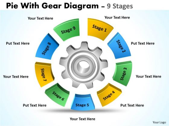 Strategic Management Pie With Gear Diagram 9 Stages Business Diagram
