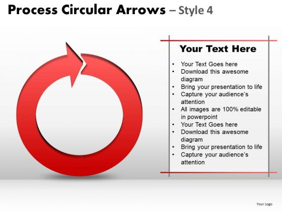 Strategic Management Process Circular Arrows Style 4 Strategy Diagram