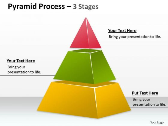 Strategic Management Pyramid Process 3 Staged For Business Sales Diagram