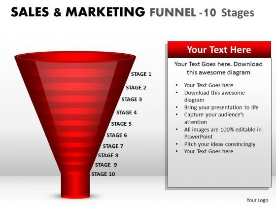 Strategic Management Sales And Marketing Funnel 10 Stages Business Diagram