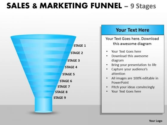 Strategic Management Sales And Marketing Funnel With 9 Stages Business Diagram