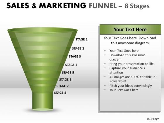 Strategic Management Sales Process Control Funnel With 8 Stages Business Diagram