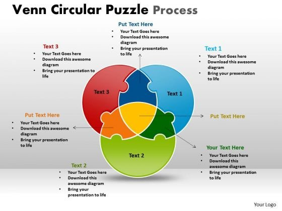 Strategic Management Venn Circular Puzzle Process Marketing Diagram