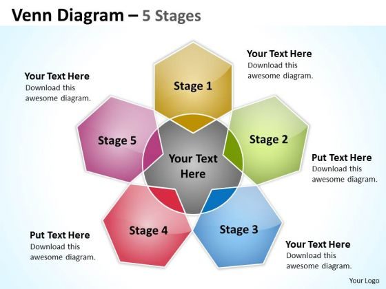 Strategic Management Venn Diagram 5 Stages Consulting Diagram