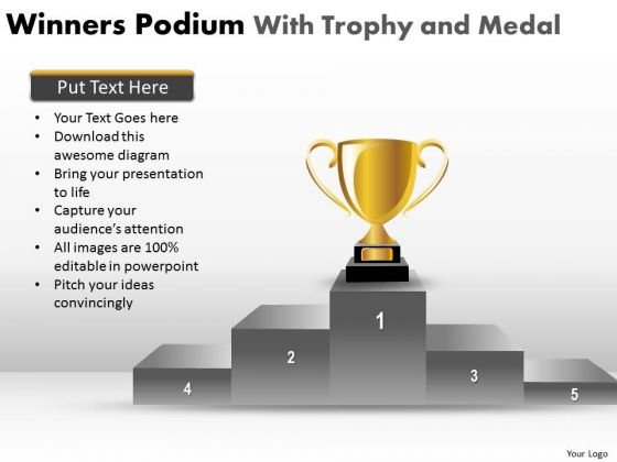Strategic Management Winners Podium With Trophy And Medal Marketing Diagram