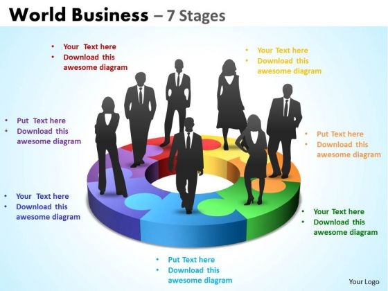 Strategic Management World Business 7 Stages Business Cycle Diagram