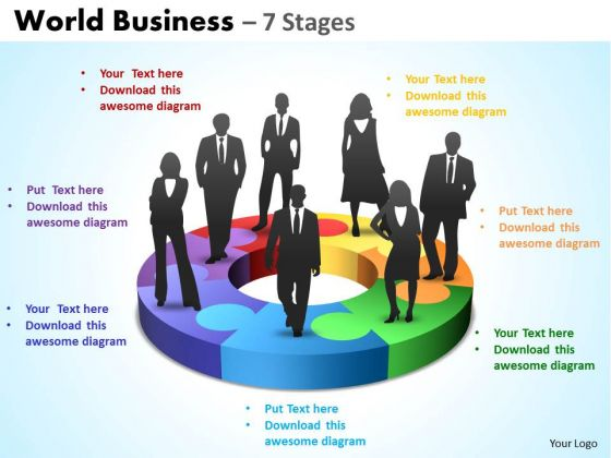 Strategic Management World Flow Business 7 Stages Sales Diagram