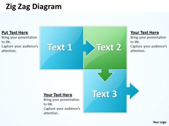 Strategic Management Zig Zag 3 Stages Business Diagram