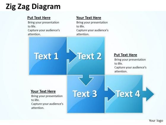 Strategic Management Zig Zag 4 Stages Marketing Diagram
