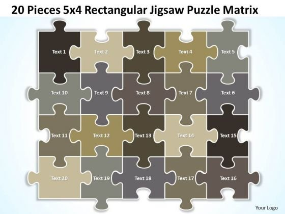 Strategy Diagram 20 Pieces 5x4 Rectangular Jigsaw Puzzle Matrix Sales Diagram
