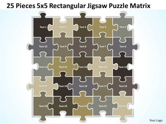 Strategy Diagram 25 Pieces 5x5 Rectangular Jigsaw Puzzle Matrix Business Diagram