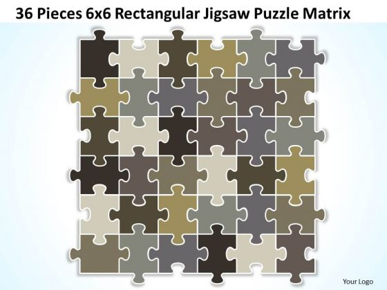 Strategy Diagram 36 Pieces 6x6 Rectangular Jigsaw Puzzle Matrix Business Diagram