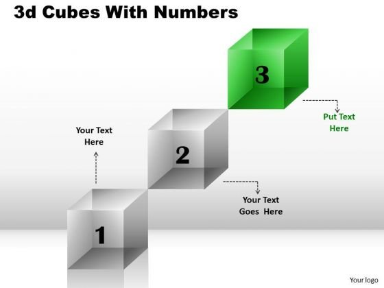 Strategy Diagram 3 Staged Cubes With Numbers Sales Diagram