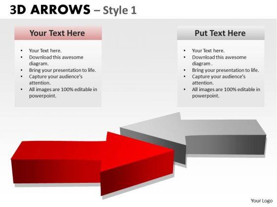 Strategy Diagram 3d Arrows Style 1