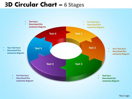 Strategy Diagram 3d Circular Chart 6 Stages Strategic Management