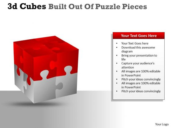 Strategy Diagram 3d Cubes Built Out Of Puzzle Pieces Consulting Diagram