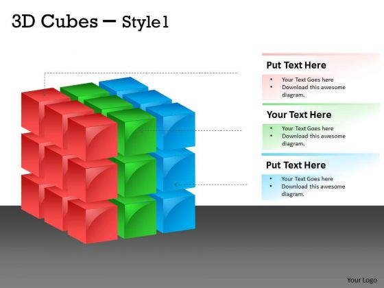 Strategy Diagram 3d Cubes Style 1 Cubes Design Business Cycle Diagram