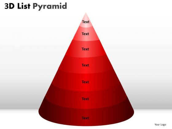 Strategy Diagram 3d List Pyramid Diagram With 7 Stages Marketing Diagram