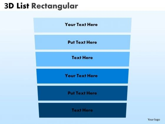 Strategy Diagram 3d List Rectangular Style Diagram Consulting Diagram
