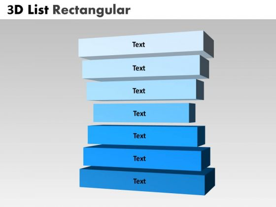 Strategy Diagram 3d List Rectangular With 7 Stages Marketing Diagram