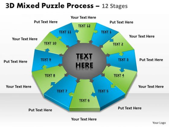 Strategy Diagram 3d Mixed Puzzle Process 12 Strategic Management