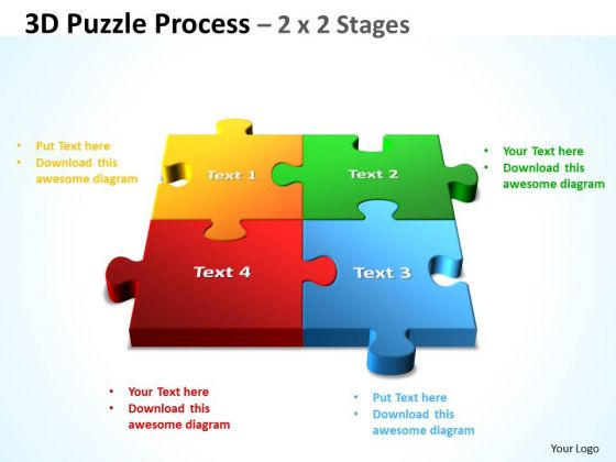 Strategy Diagram 3d Puzzle Process 2 X 2 Stages Business Diagram