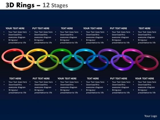 Strategy Diagram 3d Rings 12 Stages Business Cycle Diagram