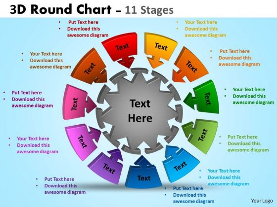 Strategy Diagram 3d Round Chart 11 Stages Business Cycle Diagram