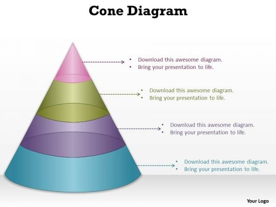 Strategy Diagram 4 Staged Conical Shape For Process Control Sales Diagram