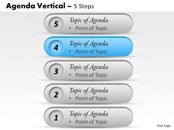 Strategy Diagram Agenda Vertical 5 Steps Sales Diagram