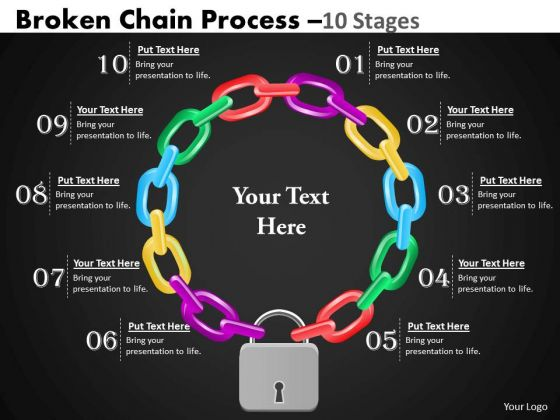 Strategy Diagram Broken Chain Process 10 Stages Business Cycle Diagram