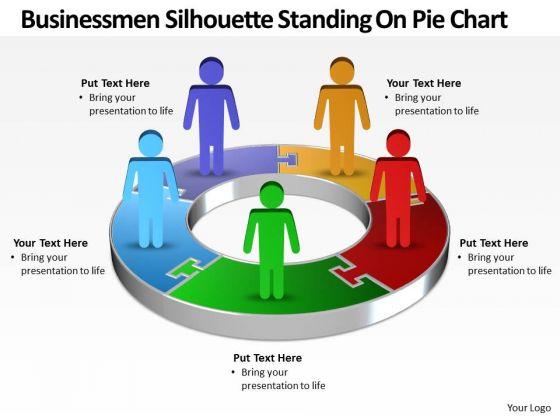 Strategy Diagram Busines Men Silhouettes Standing On Pie Chart Sales Diagram