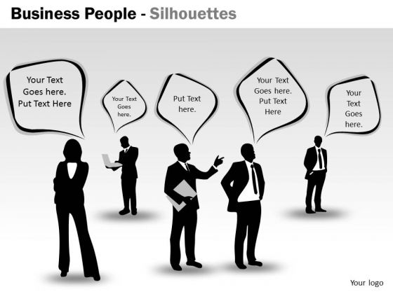 Strategy Diagram Business People Silhouettes Business Cycle Diagram