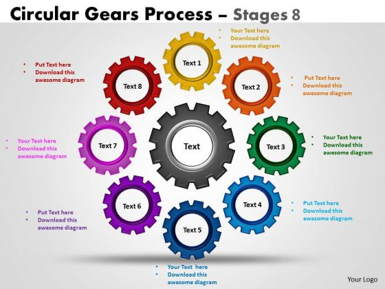 Strategy Diagram Circular Gears Flowchart Process Stages 8 Strategic Management