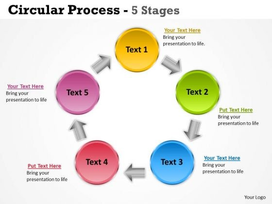 Strategy Diagram Circular Process 5 Stages Business Diagram