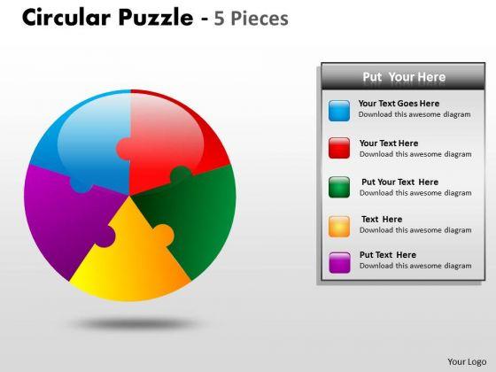 Strategy Diagram Circular Puzzle 5 Pieces Business Cycle Diagram