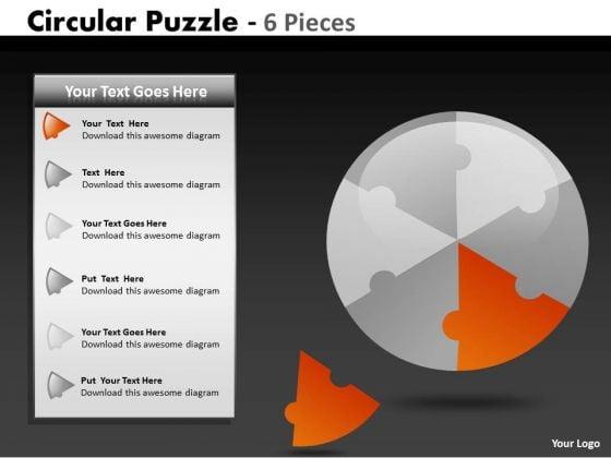 Strategy Diagram Circular Puzzle 6 Pieces Business Diagram