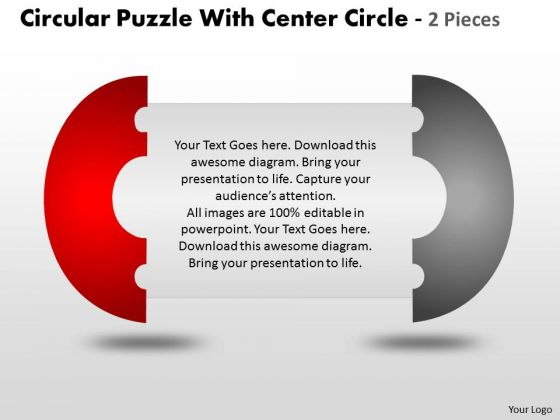 Strategy Diagram Circular Puzzle With Center Circle 2 Business Cycle Diagram