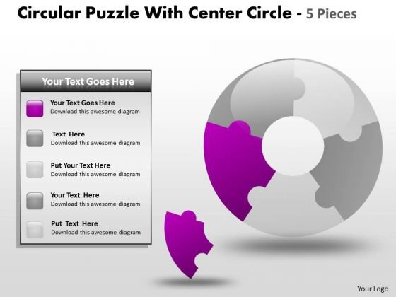 Strategy Diagram Circular Puzzle With Center Circle 5 Pieces Sales Diagram
