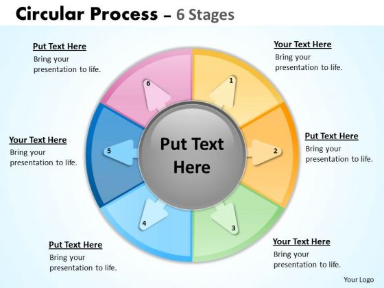 Strategy Diagram Circular Work Process Showing Six Stages Sales Diagram