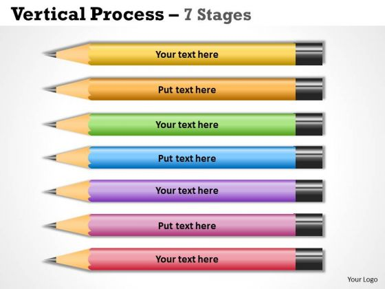 Strategy Diagram Color Pencils Vertical Process 7 Stages Marketing Diagram