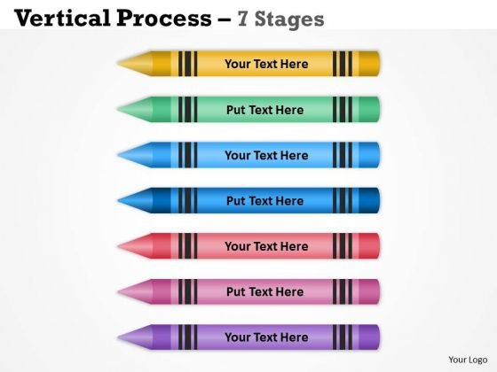 Strategy Diagram Color Pencils Vertical Process With 7 Stages Marketing Diagram